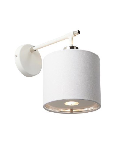 Elstead Lighting Balance 1 Light Wall Light In White/Polished Nickel Finish Complete With Shade
