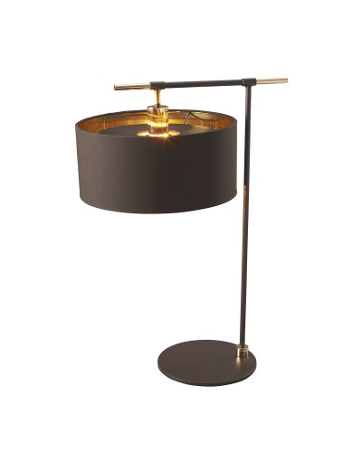 Elstead Lighting Balance 1 Light Table Lamp In Brown/Polished Brass Finish Complete With Shade