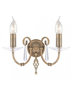 Elstead Lighting Aegean 2 Light Wall Light In Aged Brass Finish