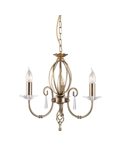 Elstead Lighting Aegean 3 Light Duo-Mount Chandelier In Aged Brass Finish