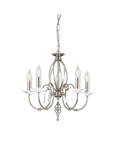 Elstead Lighting Aegean 5 Light Duo-Mount Chandelier In Polished Nickel Plating