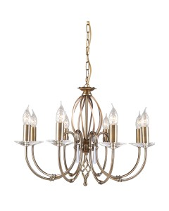 Elstead Lighting Aegean 8 Light Duo-Mount Chandelier In Aged Brass Finish