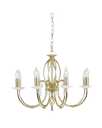 Elstead Lighting Aegean 8 Light Duo-Mount Chandelier In Polished Brass Finish