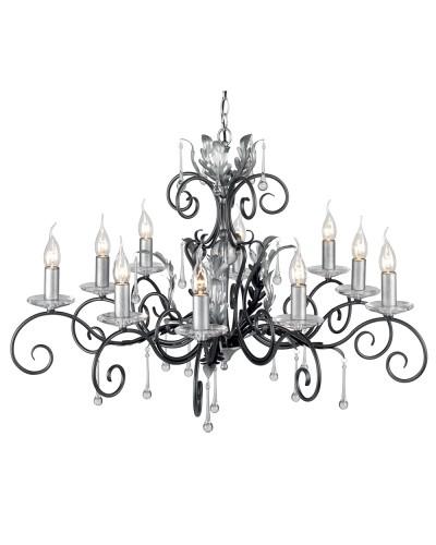 Elstead Lighting Amarilli 10 Light Chandelier In Black/Silver Finish