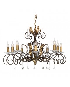 Elstead Lighting Amarilli 10 Light Chandelier In Bronze/ Gold Patina Finish