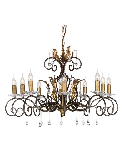 Elstead Lighting Amarilli 10 Light Chandelier In Bronze/ Gold Patina Finish