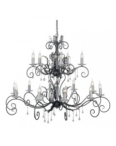 Elstead Lighting Amarilli 15 Light Chandelier In Black/Silver Finish