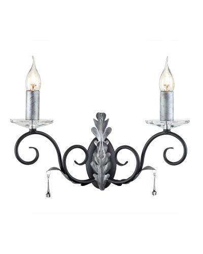 Elstead Lighting Amarilli 2 Light Wall Light In Black/Silver Finish