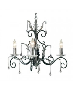 Elstead Lighting Amarilli 3 Light Duo Mount Chandelier In Black/Silver Finish