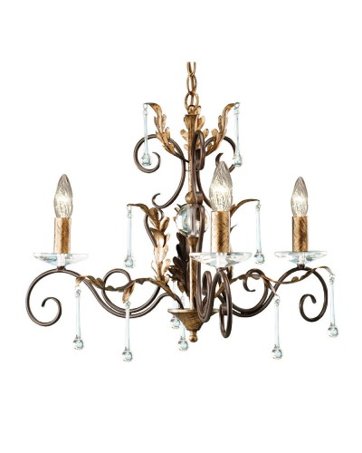 Elstead Lighting Amarilli 3 Light Duo Mount Chandelier In Bronze/ Gold Patina Finish
