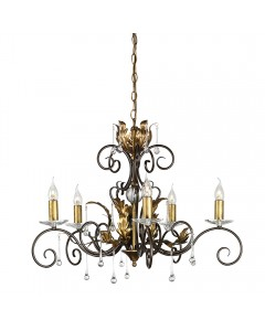 Elstead Lighting Amarilli 5 Light Chandelier In Bronze/ Gold Patina Finish