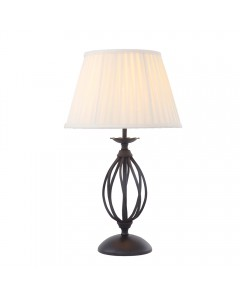 Elstead Lighting Artisan 1 Light Table Lamp In Black Finish Complete With Ivory Pleated Shade