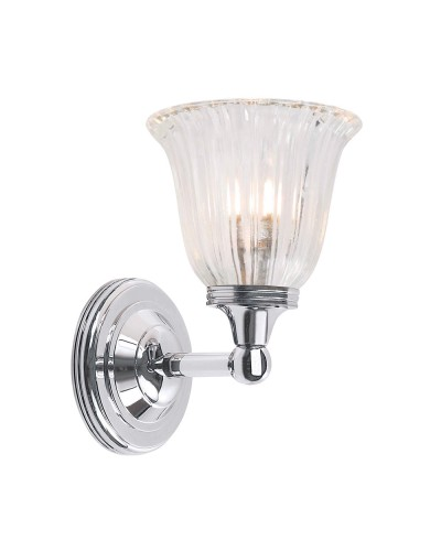 Elstead Lighting Austen1 Solid Brass 1 Light Bathroom Wall Light In Polished Chrome Finish With Ridged Tulip Glass Shade (IP44)