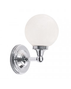 Elstead Lighting Austen4 Solid Brass 1 Light Bathroom Wall Light In Polished Chrome Finish With Opal Glass Globe (IP44)