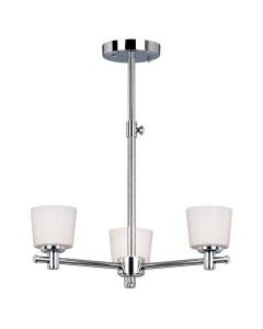 Elstead Lighting Binstead 3 Light Bathroom Ceiling Light In Polished Chrome Finish With Opal Glass Shades & Telescopic Adjustable Rod (IP44)