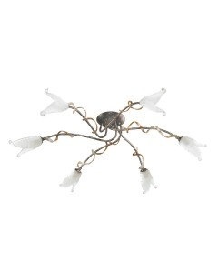 Elstead Lighting Fly 6 Light Semi-Flush Ceiling Light In Black/Silver/Gold Finish With Opaque Flower Glass