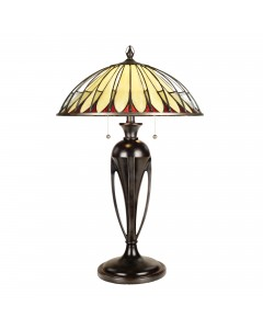 Quoizel Tiffany Alahambre 2 Light Table Lamp In Vintage Bronze Finish