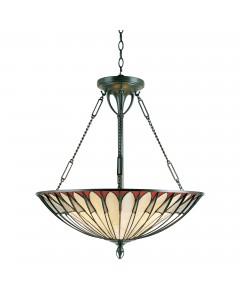Quoizel Tiffany Alahambre 4 Light Pendant In Vintage Bronze Finish