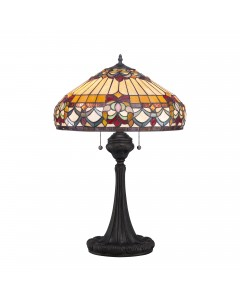 Quoizel Tiffany Belle Fleur 2 Light Table Lamp In Vintage Bronze Finish