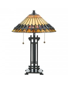 Quoizel Tiffany Chastain 2 Light Table Lamp In Vintage Bronze Finish