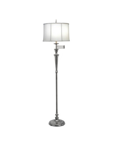 Stiffel Arlington Swing Arm Floor Lamp In Antique Nickel Finish With Off White Camelot Shade