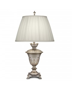 Stiffel Boston 1 Light Table Lamp In Milano Silver Finish With Ivory Shadow Box Pleated Shade