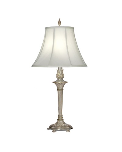 Stiffel Hampton 1 Light Table Lamp In Milano Silver Finish With Off White Silk Shantung Shade